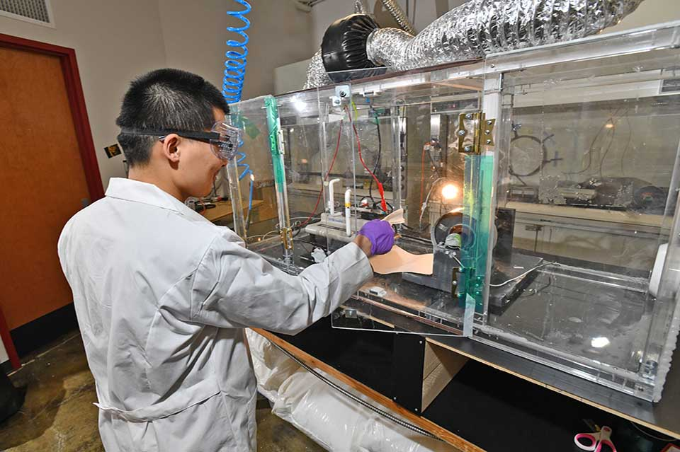 Man working in lab space